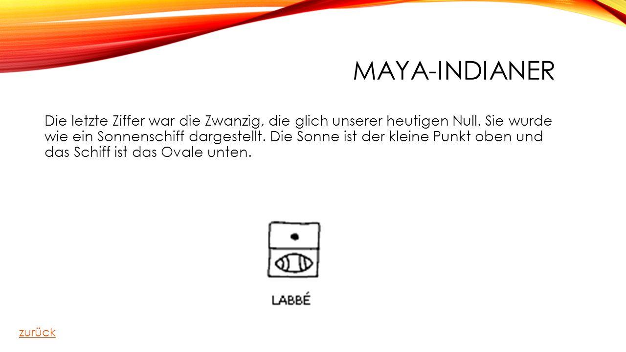 MAYA-INDIANER Die letzte Ziffer war die Zwanzig, die glich unserer heutigen Null. Sie wurde wie ein Sonnenschiff dargestellt. Die Sonne ist der kleine