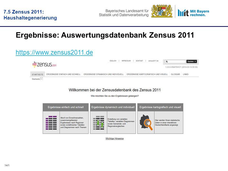 14/1 Ergebnisse: Auswertungsdatenbank Zensus 2011 https://www.zensus2011.de 7.5 Zensus 2011: Haushaltegenerierung