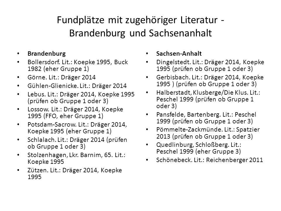 Fundplätze mit zugehöriger Literatur - Brandenburg und Sachsenanhalt Brandenburg Bollersdorf. Lit.: Koepke 1995, Buck 1982 (eher Gruppe 1) Görne. Lit.