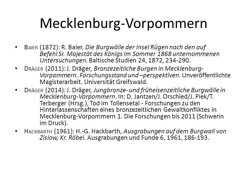 Mecklenburg-Vorpommern B AIER (1872): R. Baier, Die Burgwälle der Insel Rügen nach den auf Befehl Sr. Majestät des Königs im Sommer 1868 unternommenen