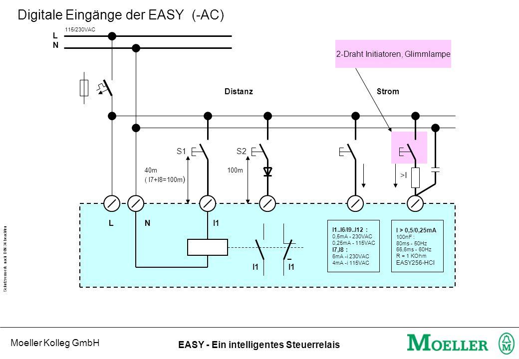 Moeller Kolleg GmbH Schutzvermerk nach DIN 34 beachten EASY - Ein intelligentes Steuerrelais Digitale Eingänge der EASY (-AC) N I1 I1 LNLN L S1 40m 10