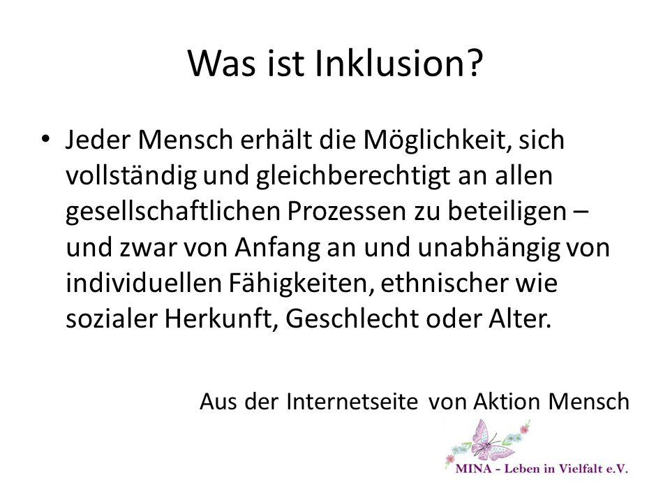Was ist Inklusion.
