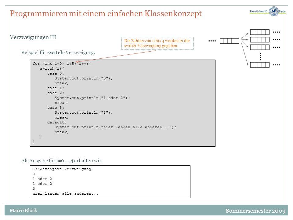 Sommersemester 2009 Marco Block Programmieren mit einem einfachen Klassenkonzept Verschiedene Schleifentypen System.out.println( 1 zum Quadrat ist +(1*1)); System.out.println( 2 zum Quadrat ist +(2*2)); System.out.println( 3 zum Quadrat ist +(3*3)); System.out.println( 4 zum Quadrat ist +(4*4)); System.out.println( 5 zum Quadrat ist +(5*5)); System.out.println( 6 zum Quadrat ist +(6*6)); Warum Schleifen.