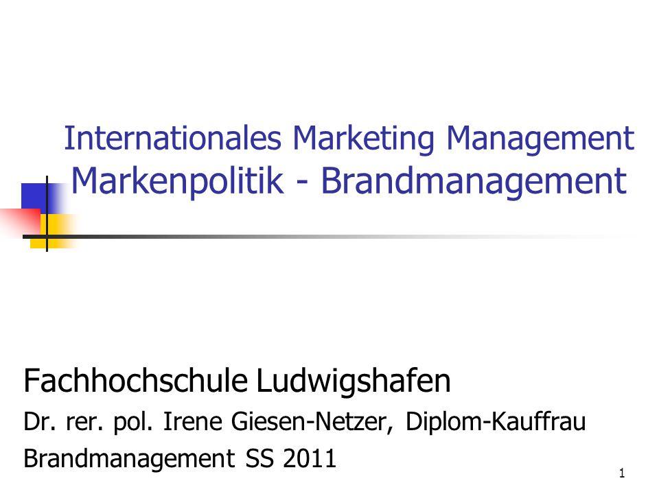 1 Internationales Marketing Management Markenpolitik - Brandmanagement Fachhochschule Ludwigshafen Dr. rer. pol. Irene Giesen-Netzer, Diplom-Kauffrau