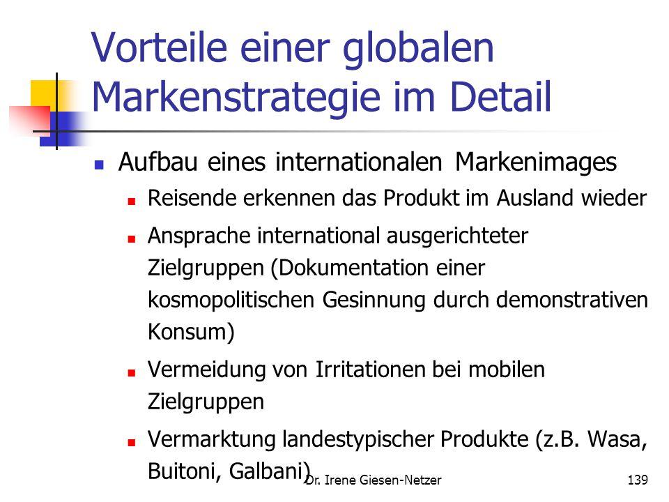 Dr. Irene Giesen-Netzer139 Vorteile einer globalen Markenstrategie im Detail Aufbau eines internationalen Markenimages Reisende erkennen das Produkt i
