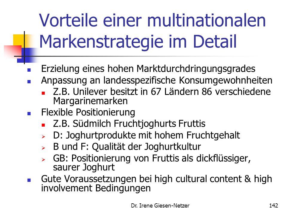 Dr. Irene Giesen-Netzer142 Vorteile einer multinationalen Markenstrategie im Detail Erzielung eines hohen Marktdurchdringungsgrades Anpassung an lande