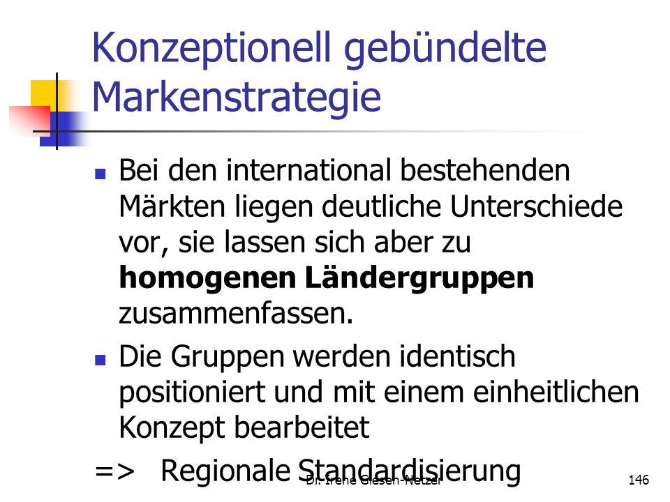 Dr. Irene Giesen-Netzer146 Konzeptionell gebündelte Markenstrategie Bei den international bestehenden Märkten liegen deutliche Unterschiede vor, sie l