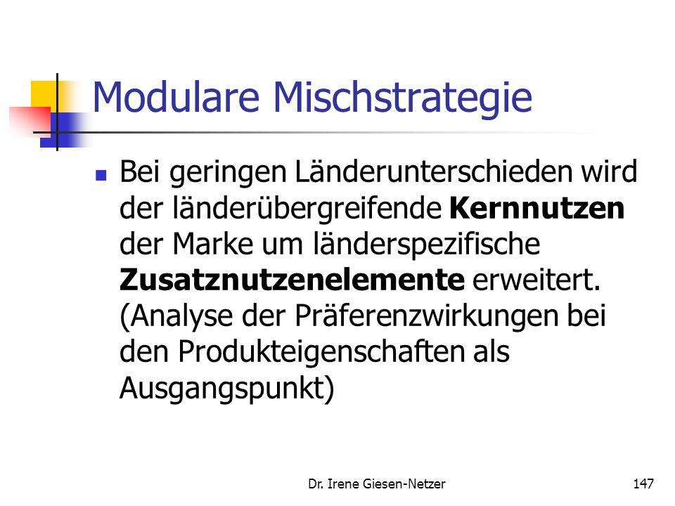 Dr. Irene Giesen-Netzer147 Modulare Mischstrategie Bei geringen Länderunterschieden wird der länderübergreifende Kernnutzen der Marke um länderspezifi