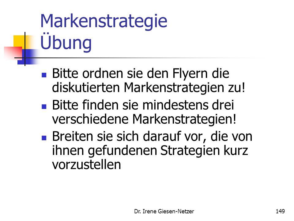 Dr. Irene Giesen-Netzer149 Markenstrategie Übung Bitte ordnen sie den Flyern die diskutierten Markenstrategien zu! Bitte finden sie mindestens drei ve