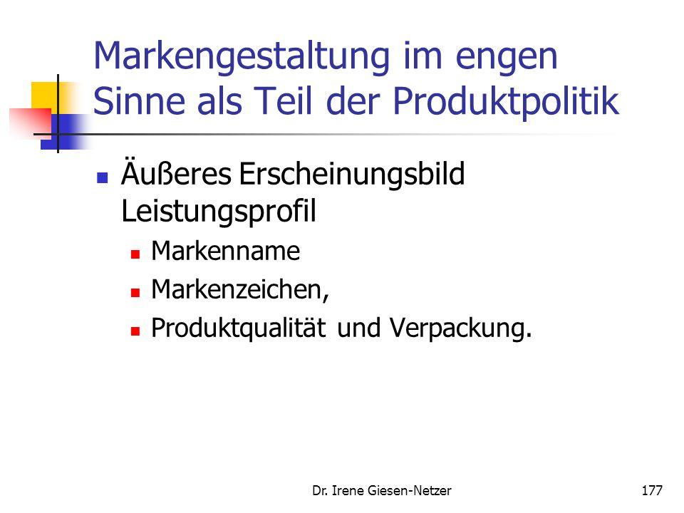 Dr. Irene Giesen-Netzer177 Markengestaltung im engen Sinne als Teil der Produktpolitik Äußeres Erscheinungsbild Leistungsprofil Markenname Markenzeich