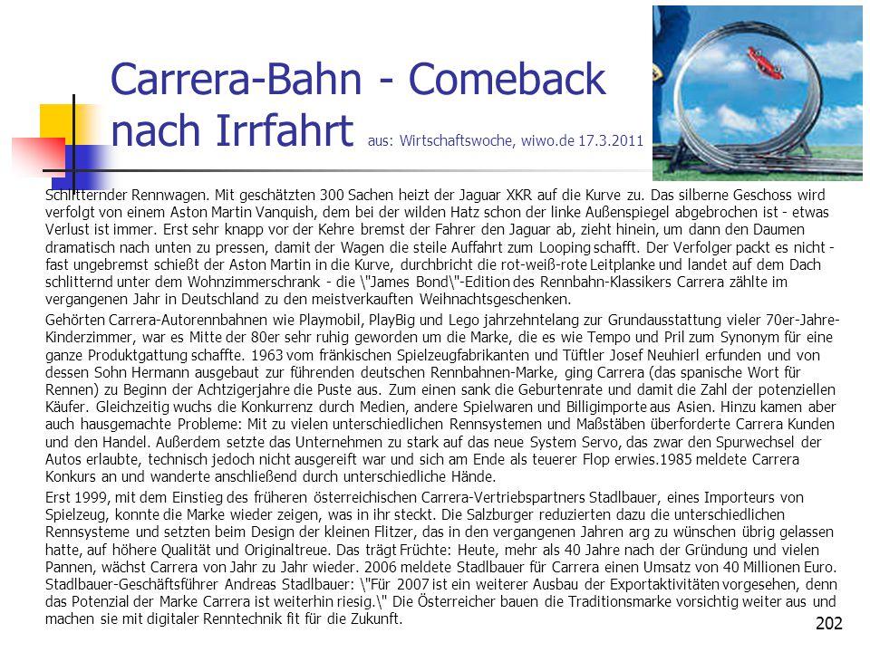 Carrera-Bahn - Comeback nach Irrfahrt aus: Wirtschaftswoche, wiwo.de 17.3.2011 Schlitternder Rennwagen. Mit geschätzten 300 Sachen heizt der Jaguar XK