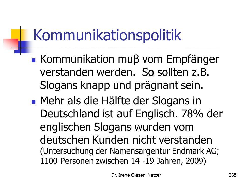 Dr. Irene Giesen-Netzer235 Kommunikationspolitik Kommunikation muβ vom Empfänger verstanden werden. So sollten z.B. Slogans knapp und prägnant sein. M