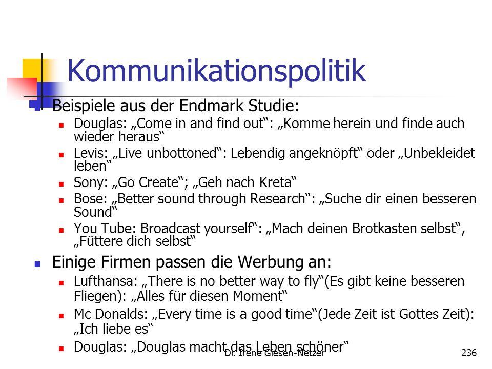 """Dr. Irene Giesen-Netzer236 Kommunikationspolitik Beispiele aus der Endmark Studie: Douglas: """"Come in and find out"""": """"Komme herein und finde auch wiede"""