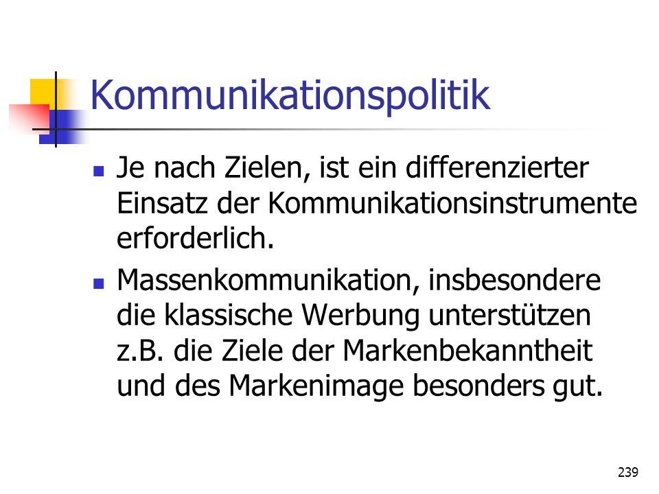 239 Kommunikationspolitik Je nach Zielen, ist ein differenzierter Einsatz der Kommunikationsinstrumente erforderlich. Massenkommunikation, insbesonder