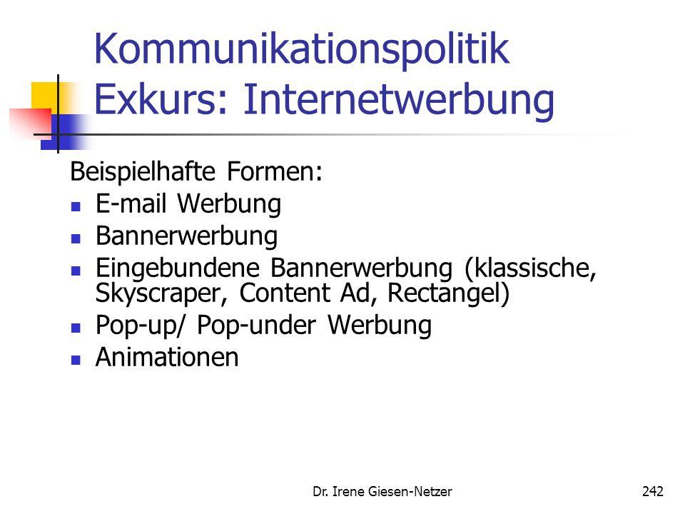 Dr. Irene Giesen-Netzer242 Kommunikationspolitik Exkurs: Internetwerbung Beispielhafte Formen: E-mail Werbung Bannerwerbung Eingebundene Bannerwerbung