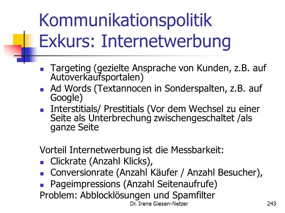 Dr. Irene Giesen-Netzer243 Kommunikationspolitik Exkurs: Internetwerbung Targeting (gezielte Ansprache von Kunden, z.B. auf Autoverkaufsportalen) Ad W