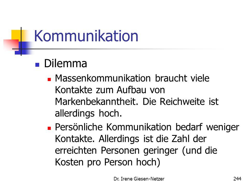 Dr. Irene Giesen-Netzer244 Kommunikation Dilemma Massenkommunikation braucht viele Kontakte zum Aufbau von Markenbekanntheit. Die Reichweite ist aller