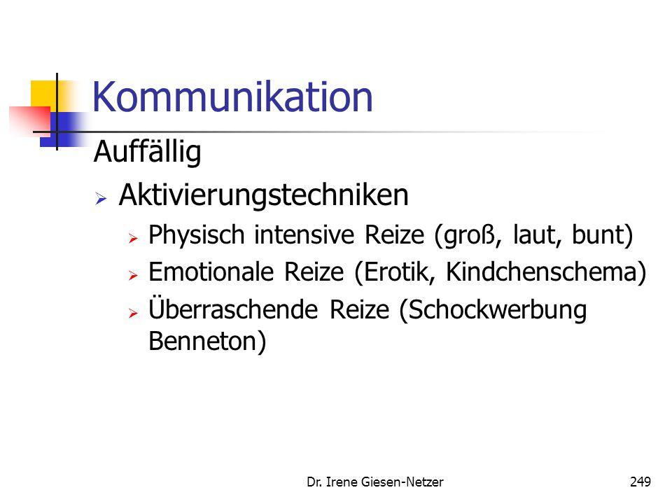 Dr. Irene Giesen-Netzer249 Kommunikation Auffällig  Aktivierungstechniken  Physisch intensive Reize (groß, laut, bunt)  Emotionale Reize (Erotik, K