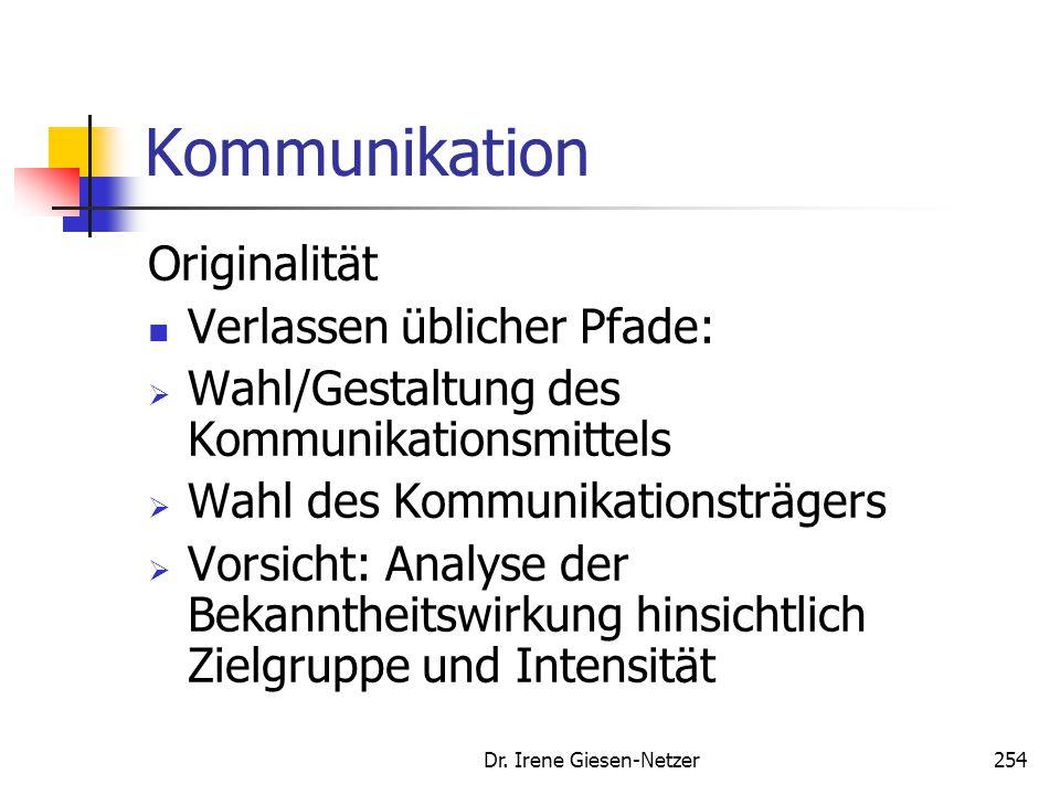 Dr. Irene Giesen-Netzer254 Kommunikation Originalität Verlassen üblicher Pfade:  Wahl/Gestaltung des Kommunikationsmittels  Wahl des Kommunikationst