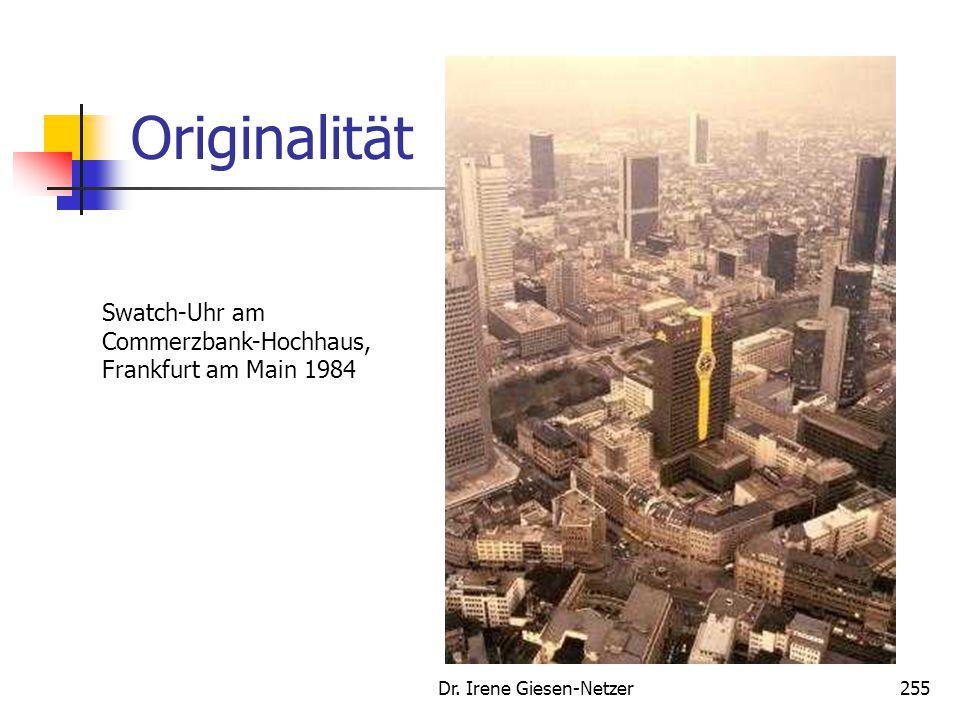 Dr. Irene Giesen-Netzer255 Originalität Swatch-Uhr am Commerzbank-Hochhaus, Frankfurt am Main 1984