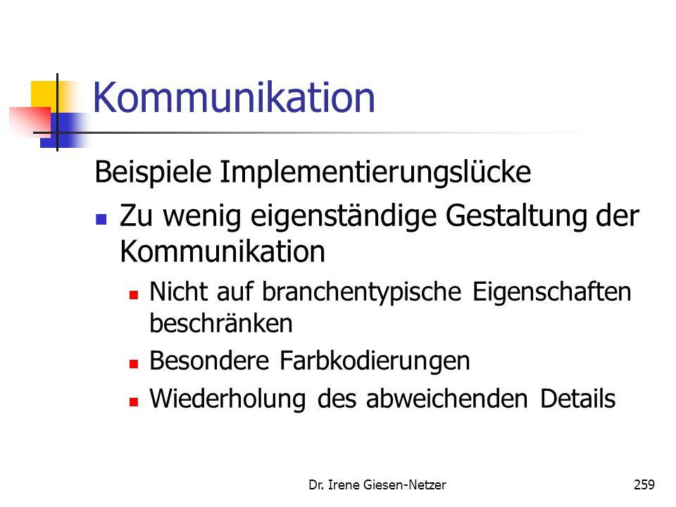 Dr. Irene Giesen-Netzer259 Kommunikation Beispiele Implementierungslücke Zu wenig eigenständige Gestaltung der Kommunikation Nicht auf branchentypisch