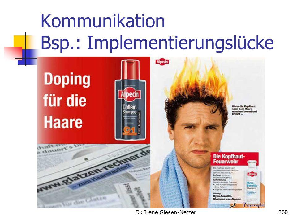 Kommunikation Bsp.: Implementierungslücke Dr. Irene Giesen-Netzer260