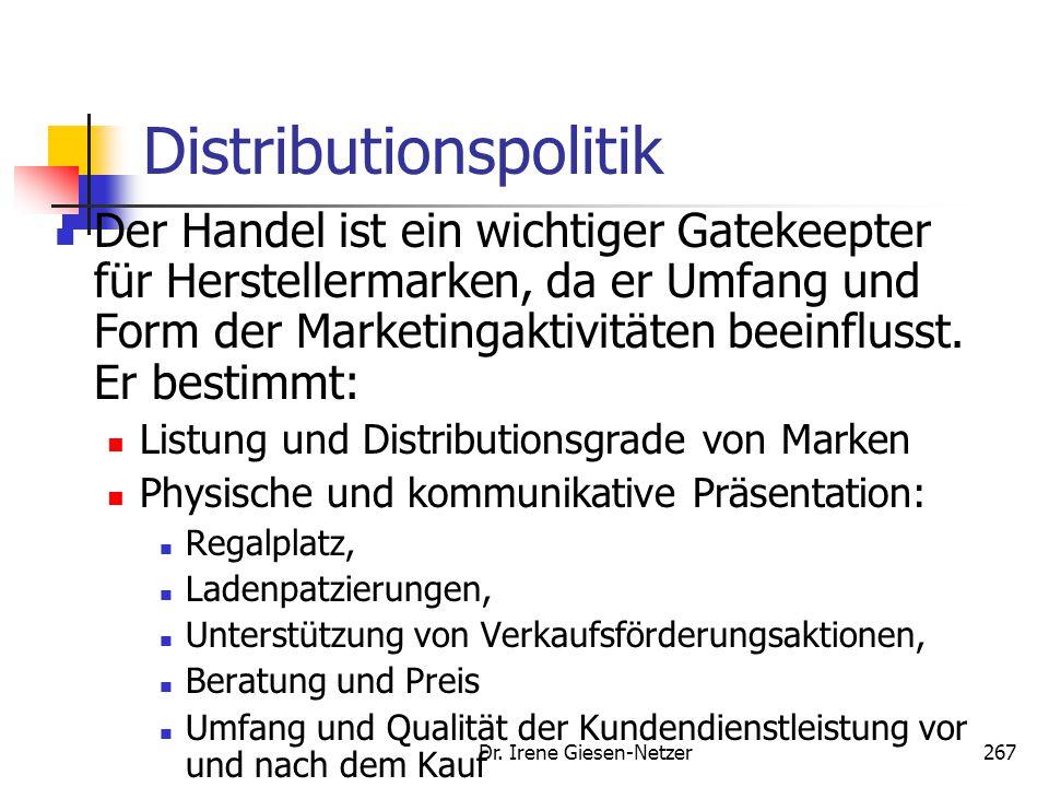 Dr. Irene Giesen-Netzer267 Distributionspolitik Der Handel ist ein wichtiger Gatekeepter für Herstellermarken, da er Umfang und Form der Marketingakti