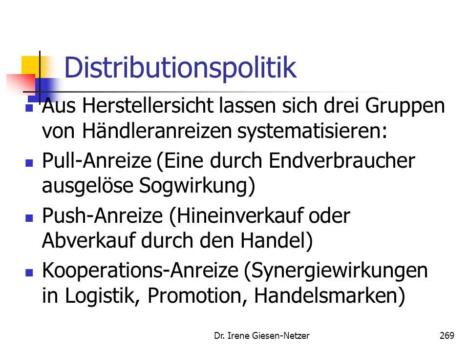 Dr. Irene Giesen-Netzer269 Distributionspolitik Aus Herstellersicht lassen sich drei Gruppen von Händleranreizen systematisieren: Pull-Anreize (Eine d