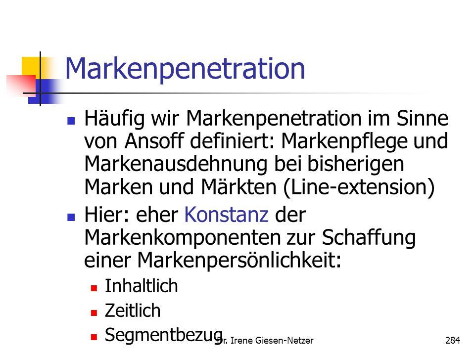 Dr. Irene Giesen-Netzer284 Markenpenetration Häufig wir Markenpenetration im Sinne von Ansoff definiert: Markenpflege und Markenausdehnung bei bisheri