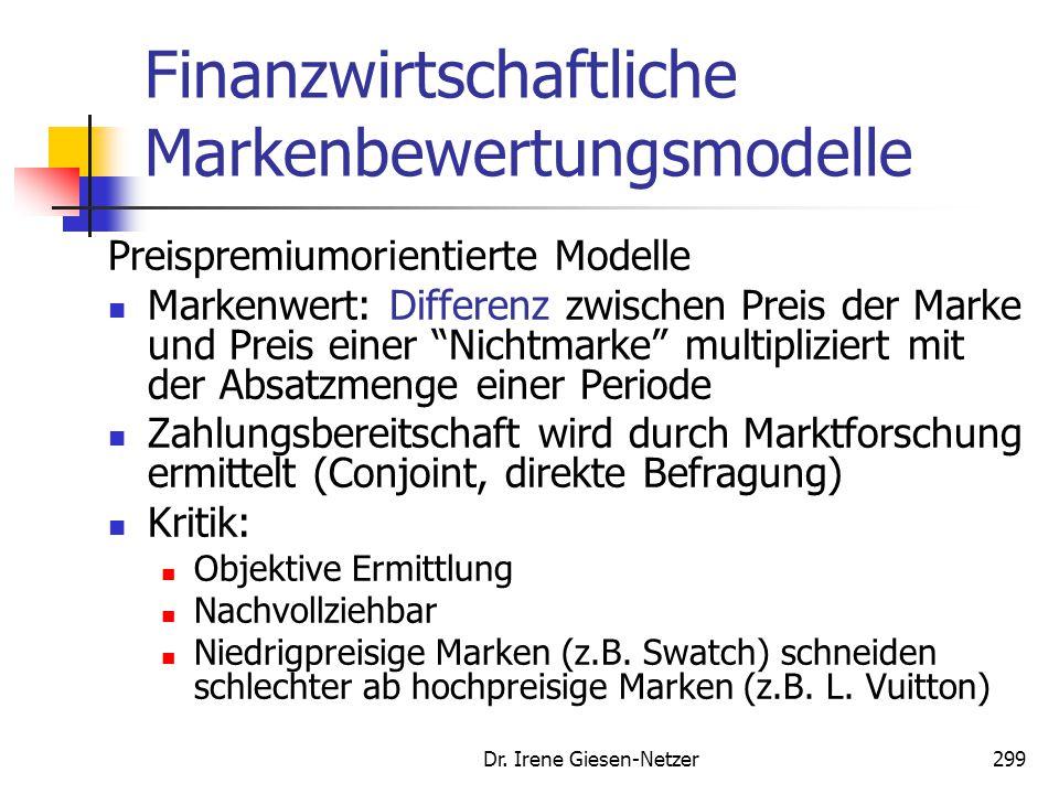 Dr. Irene Giesen-Netzer299 Finanzwirtschaftliche Markenbewertungsmodelle Preispremiumorientierte Modelle Markenwert: Differenz zwischen Preis der Mark