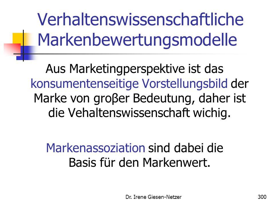 Dr. Irene Giesen-Netzer300 Verhaltenswissenschaftliche Markenbewertungsmodelle Aus Marketingperspektive ist das konsumentenseitige Vorstellungsbild de