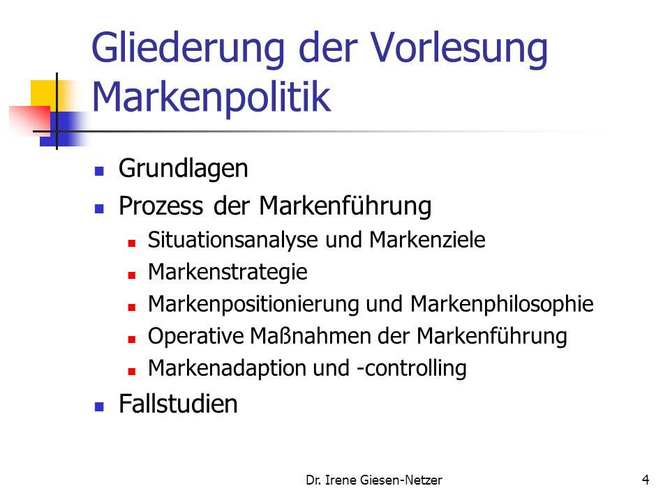 Dr. Irene Giesen-Netzer4 Gliederung der Vorlesung Markenpolitik Grundlagen Prozess der Markenführung Situationsanalyse und Markenziele Markenstrategie