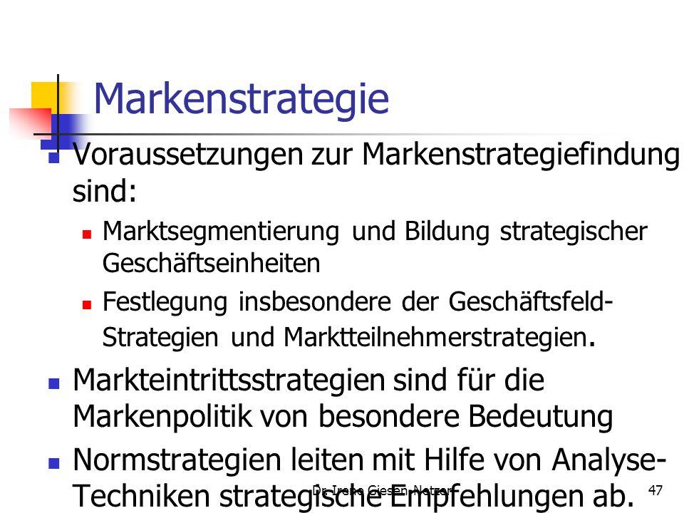 Dr. Irene Giesen-Netzer47 Markenstrategie Voraussetzungen zur Markenstrategiefindung sind: Marktsegmentierung und Bildung strategischer Geschäftseinhe
