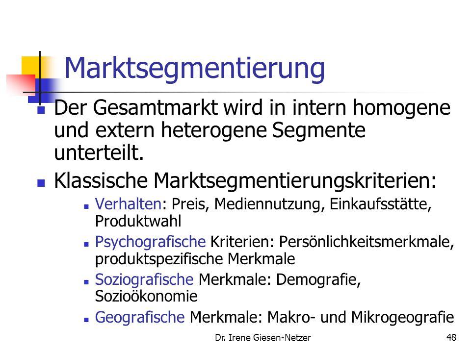 Dr. Irene Giesen-Netzer48 Marktsegmentierung Der Gesamtmarkt wird in intern homogene und extern heterogene Segmente unterteilt. Klassische Marktsegmen