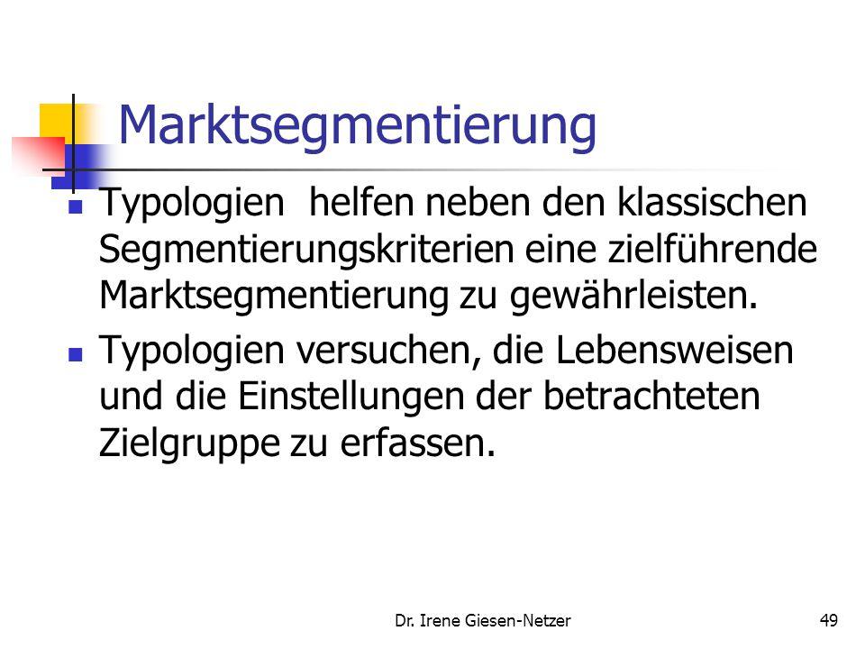 Dr. Irene Giesen-Netzer49 Marktsegmentierung Typologien helfen neben den klassischen Segmentierungskriterien eine zielführende Marktsegmentierung zu g