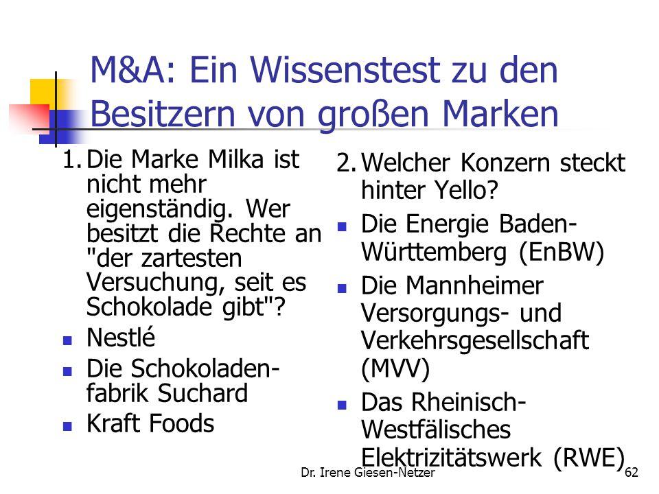Dr. Irene Giesen-Netzer62 M&A: Ein Wissenstest zu den Besitzern von großen Marken 1.Die Marke Milka ist nicht mehr eigenständig. Wer besitzt die Recht