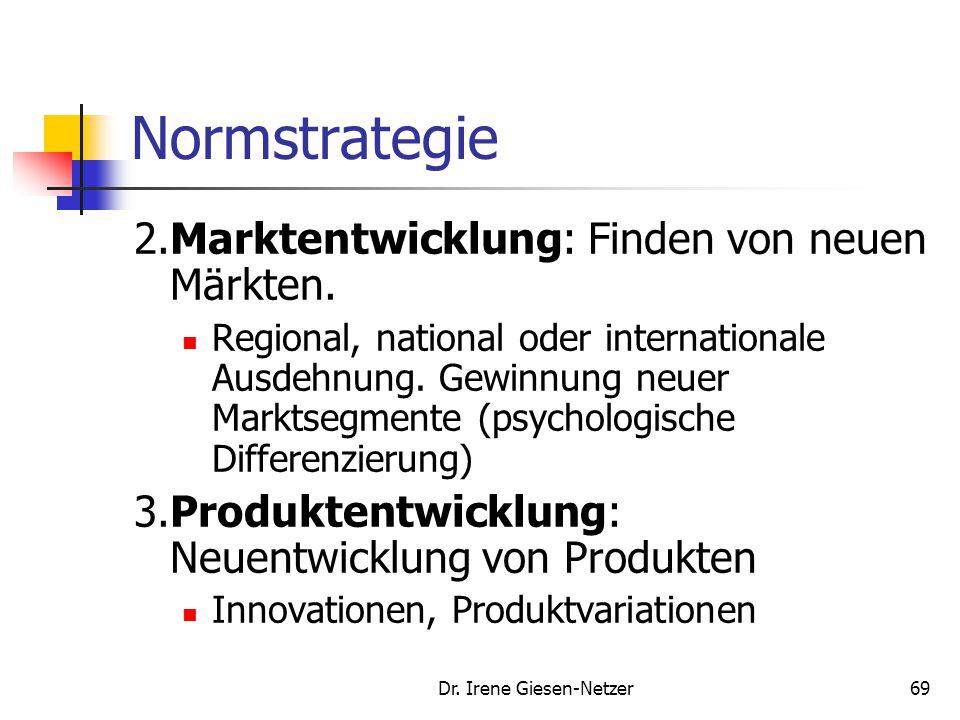 Dr. Irene Giesen-Netzer69 Normstrategie 2.Marktentwicklung: Finden von neuen Märkten. Regional, national oder internationale Ausdehnung. Gewinnung neu