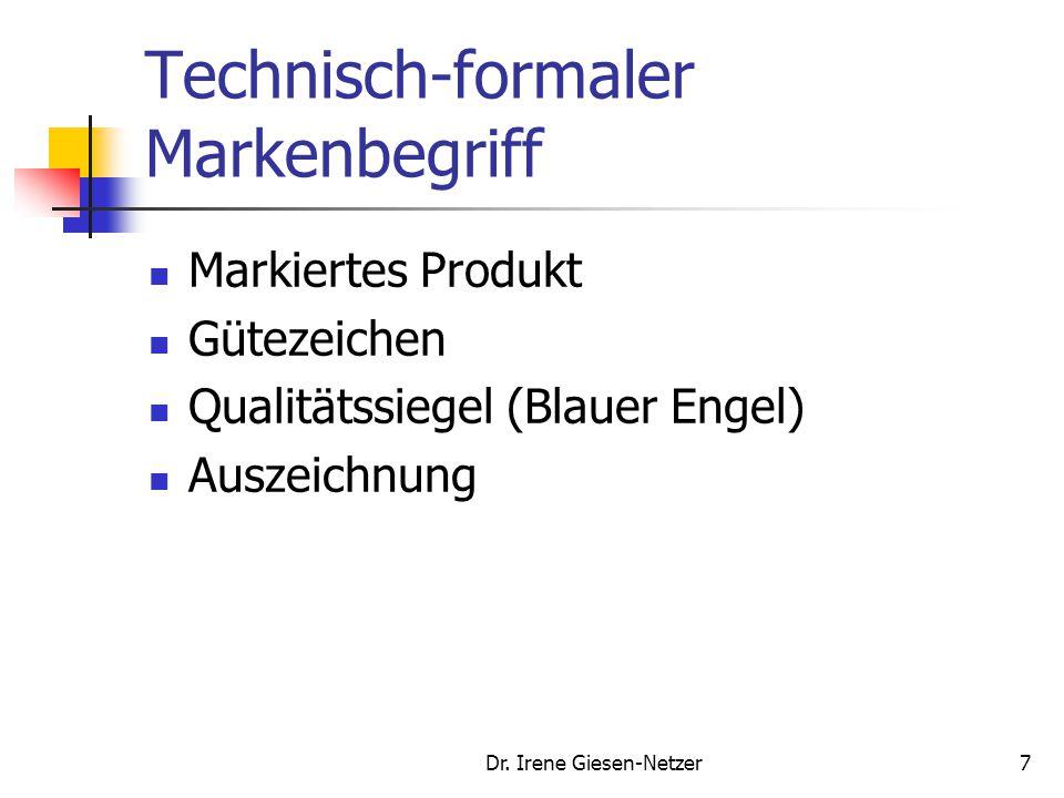 Dr. Irene Giesen-Netzer7 Technisch-formaler Markenbegriff Markiertes Produkt Gütezeichen Qualitätssiegel (Blauer Engel) Auszeichnung