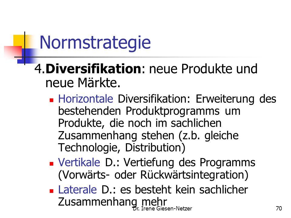 Dr.Irene Giesen-Netzer70 Normstrategie 4.Diversifikation: neue Produkte und neue Märkte.