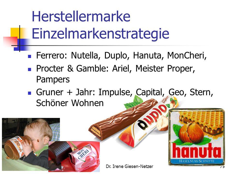 Herstellermarke Einzelmarkenstrategie Ferrero: Nutella, Duplo, Hanuta, MonCheri, Procter & Gamble: Ariel, Meister Proper, Pampers Gruner + Jahr: Impulse, Capital, Geo, Stern, Schöner Wohnen Dr.