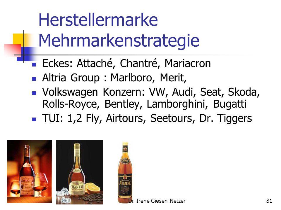 Herstellermarke Mehrmarkenstrategie Eckes: Attaché, Chantré, Mariacron Altria Group : Marlboro, Merit, Volkswagen Konzern: VW, Audi, Seat, Skoda, Rolls-Royce, Bentley, Lamborghini, Bugatti TUI: 1,2 Fly, Airtours, Seetours, Dr.
