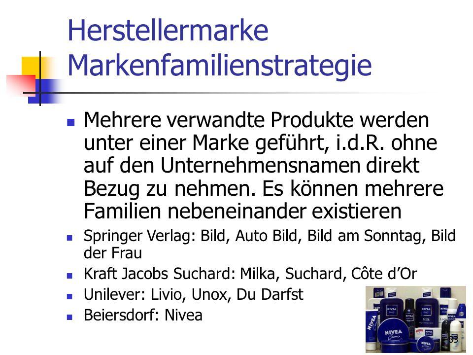 83 Herstellermarke Markenfamilienstrategie Mehrere verwandte Produkte werden unter einer Marke geführt, i.d.R.