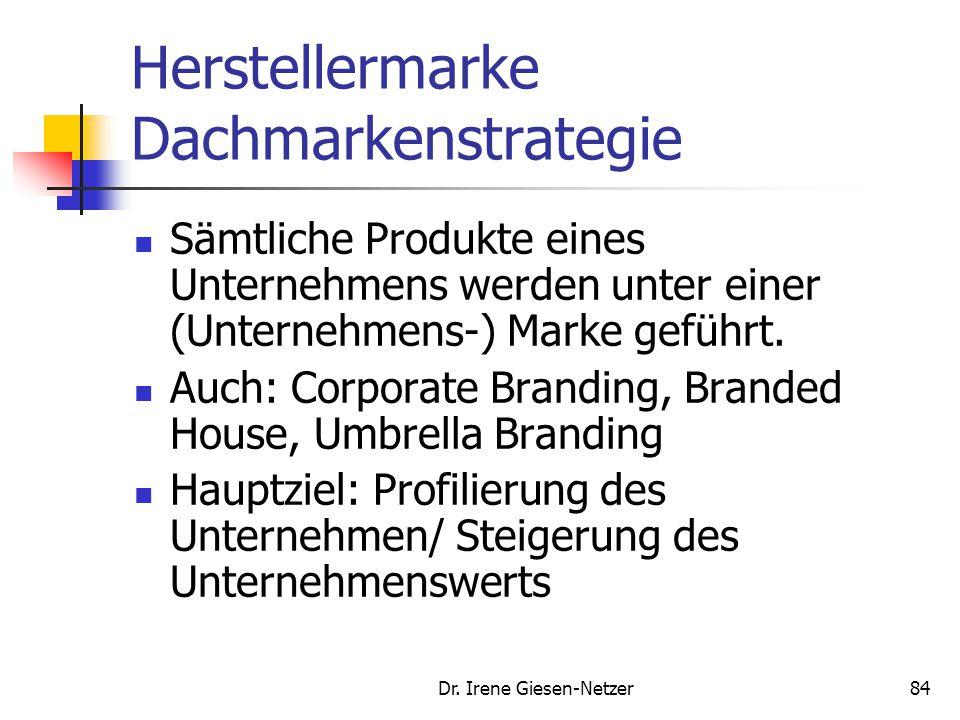 Dr. Irene Giesen-Netzer84 Herstellermarke Dachmarkenstrategie Sämtliche Produkte eines Unternehmens werden unter einer (Unternehmens-) Marke geführt.
