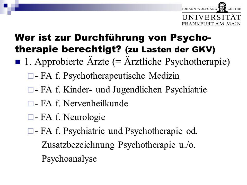 Wer ist zur Durchführung von Psycho- therapie berechtigt? (zu Lasten der GKV) 1. Approbierte Ärzte (= Ärztliche Psychotherapie)  - FA f. Psychotherap