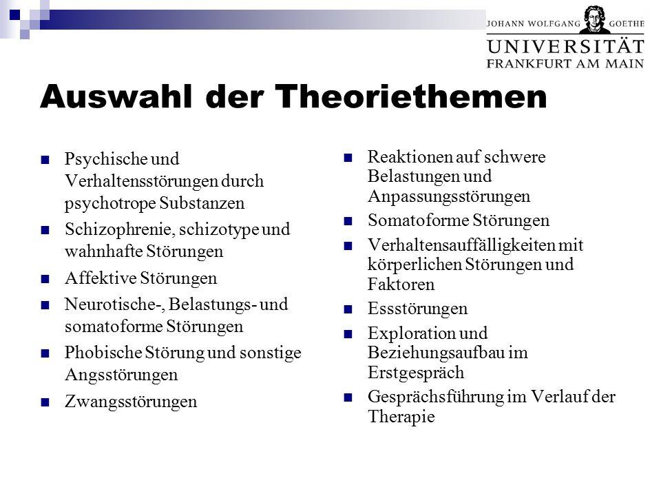 Auswahl der Theoriethemen Psychische und Verhaltensstörungen durch psychotrope Substanzen Schizophrenie, schizotype und wahnhafte Störungen Affektive