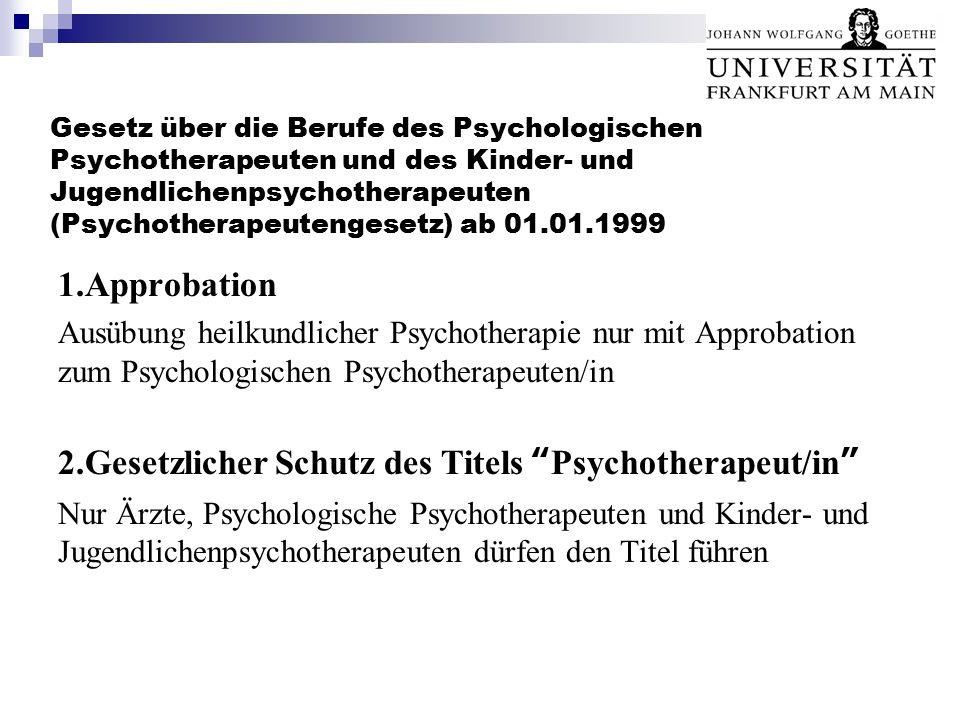 Gesetz über die Berufe des Psychologischen Psychotherapeuten und des Kinder- und Jugendlichenpsychotherapeuten (Psychotherapeutengesetz) ab 01.01.1999 1.Approbation Ausübung heilkundlicher Psychotherapie nur mit Approbation zum Psychologischen Psychotherapeuten/in 2.Gesetzlicher Schutz des Titels Psychotherapeut/in Nur Ärzte, Psychologische Psychotherapeuten und Kinder- und Jugendlichenpsychotherapeuten dürfen den Titel führen