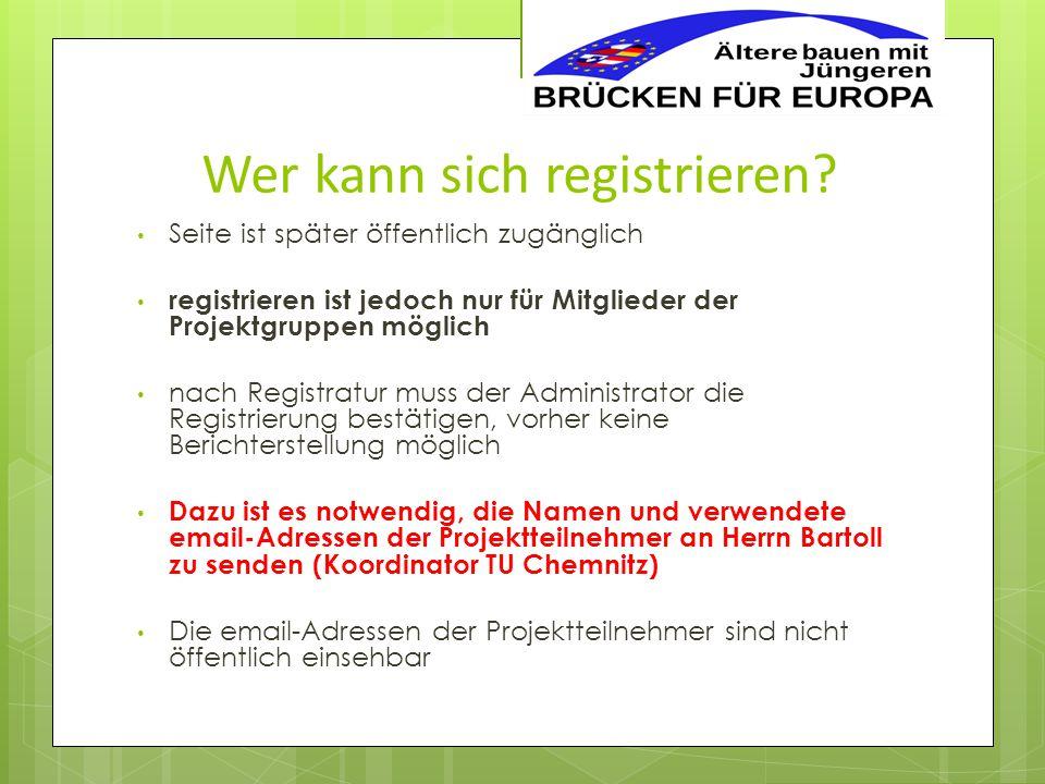 """Ablauf der Registrierung Die folgenden """"Bildschirmfotos zeigen den Registrierungsprozess mit einigen Hinweisen und Feldern, die gefüllt, bzw."""