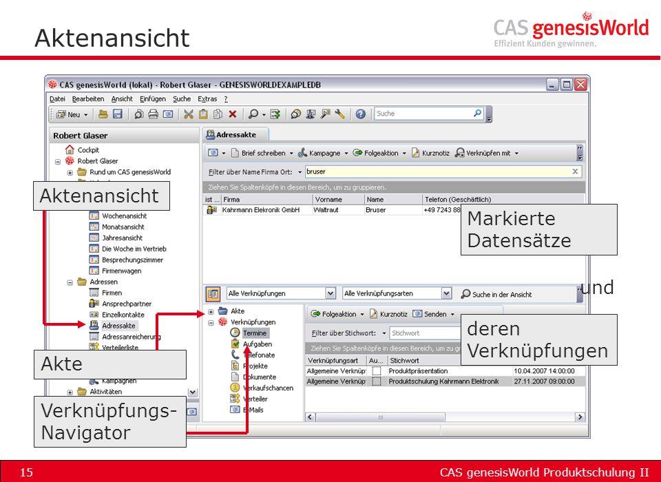CAS genesisWorld Produktschulung II15 Aktenansicht Markierte Datensätze deren Verknüpfungen Verknüpfungs- Navigator und Akte