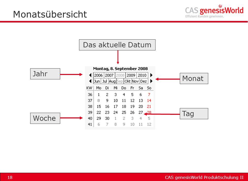 CAS genesisWorld Produktschulung II18 Monatsübersicht Jahr Monat Woche Tag Das aktuelle Datum