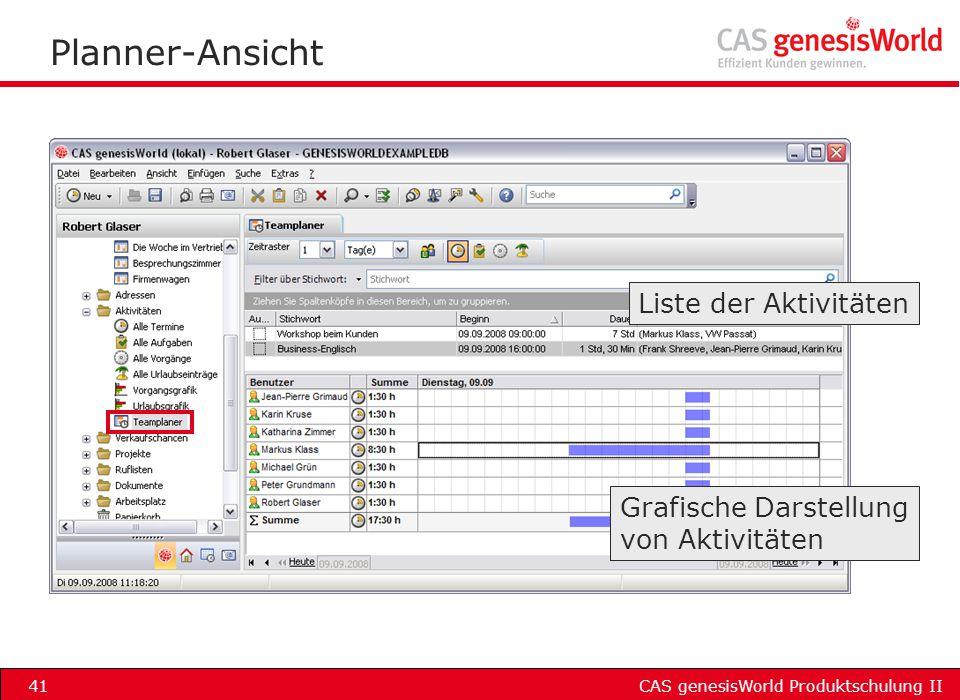 CAS genesisWorld Produktschulung II41 Planner-Ansicht Liste der Aktivitäten Grafische Darstellung von Aktivitäten